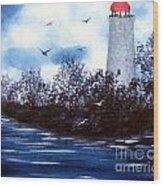 Lighthouse Blues Painterly Style Wood Print
