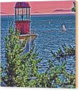 Lighthouse Hdr Wood Print