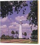 Lighthouse In Biloxi Mississippi Wood Print