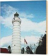 Lighthouse In Door County Wood Print