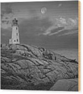 Lighthouse In The Moonlight At Peggy's Cove Nova Scotia Canada Wood Print