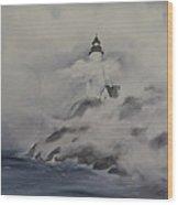 Lighthouse On Foggy Coast Wood Print
