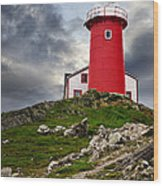 Lighthouse On Hill Wood Print