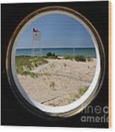 Lighthouse Window To Lake Wood Print
