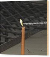 Lighting A Sparkler With An Orange Candle Wood Print