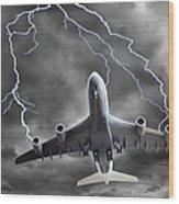 Lighting Striking An Aeroplane, Composite Wood Print