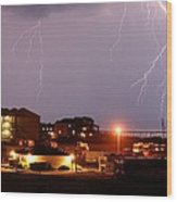 Lightning At Outer Banks Wood Print