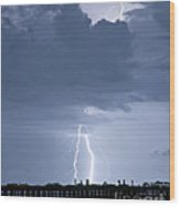 Lightning At The Pier Wood Print