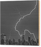 Lightning Bolts Over New York City Bw Wood Print by Susan Candelario
