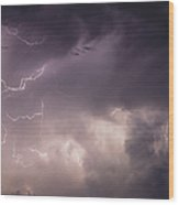 Lightning Flashes Over A Stand Of Trees Wood Print