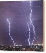 Lightning In The City Wood Print