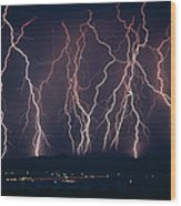 Lightning Near Barstow, California Wood Print