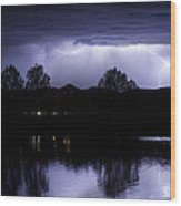 Lightning Over Coot Lake Wood Print