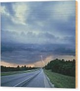 Lightning Over Highway, Bee Line Wood Print