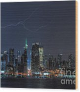 Lightning Over New York City Ix Wood Print