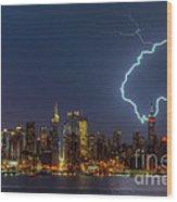 Lightning Over New York City Vii Wood Print