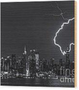 Lightning Over New York City Viii Wood Print