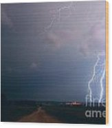 Lightning Over The Field Wood Print