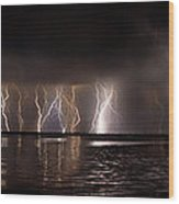 Lightning Panorama Wood Print