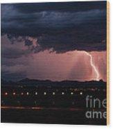 Lightning Strike Wood Print by Eddie Yerkish