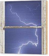 Lightning Strike White Barn Picture Window Frame Photo Art  Wood Print