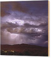 Lightning Strikes During A Thunderstorm Wood Print