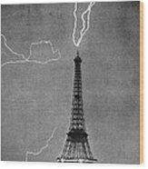 Lightning Strikes Eiffel Tower, 1902 Wood Print