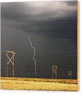 Lightning Striking Behind Saskatchewan Power Line Wood Print