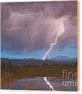 Lightning Striking Longs Peak Foothills 2 Wood Print