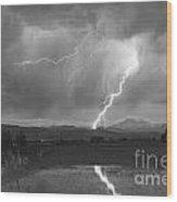 Lightning Striking Longs Peak Foothills 2bw Wood Print