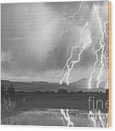 Lightning Striking Longs Peak Foothills 4bw Wood Print