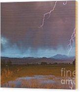 Lightning Striking Longs Peak Foothills 5 Wood Print
