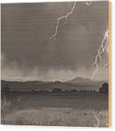 Lightning Striking Longs Peak Foothills 5bw Sepia Wood Print