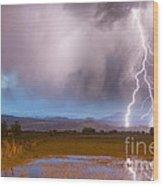 Lightning Striking Longs Peak Foothills 6 Wood Print