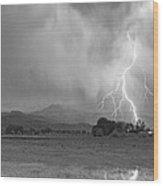 Lightning Striking Longs Peak Foothills 7cbw Wood Print