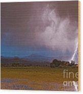 Lightning Striking Longs Peak Foothills 8 Wood Print