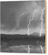 Lightning Striking Longs Peak Foothills Bw Wood Print by James BO  Insogna