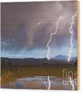 Lightning Striking Longs Peak Foothills Wood Print