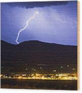 Lightning Striking Over Ibm Boulder Co 1 Wood Print