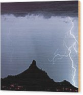 Lightning Thunderstorm At Pinnacle Peak Wood Print by James BO  Insogna