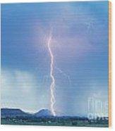 Lightning Twine Striking The Colorado Rocky Mountain Foothills Wood Print