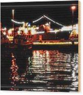 Lights Of Harbor Wood Print
