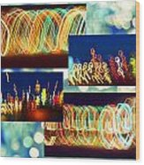Lightshow Collage Wood Print