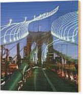 Lightwriting Brooklyn Bridge Wood Print