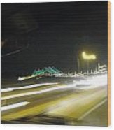 Lightwriting Tappan Zee Bridge Wood Print