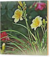 Lilies And Roses Wood Print