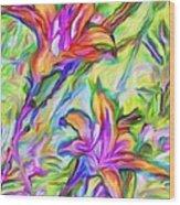 Lilies Transformed Wood Print