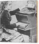 Lillian Sholes, The First Typist, 1872 Wood Print