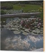 Lillies And Clouds Wood Print