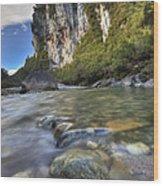 Limestone Cliffs And Fox River, Paparoa Wood Print